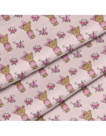 Kolekcja Różowy miś (postać)- tkanina  na metry, SOFTSHELL, BAWELNA, OXFORD