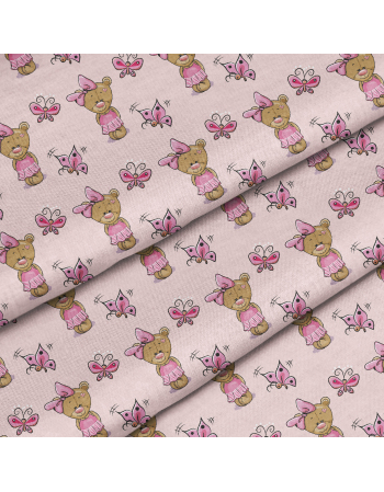 Little teddy beards - pink - fabric by meter