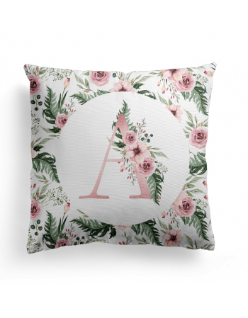 Initial cushion panel Flowers