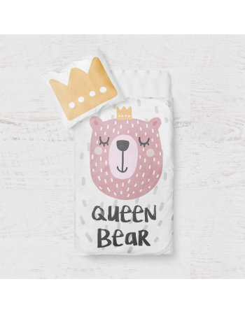 Queen Bear - blanket panel , Cotton Panel , Baby Blanket Panel