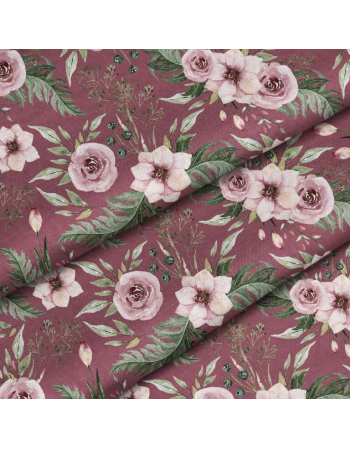 Garden flowers - dark red- fabric by meter