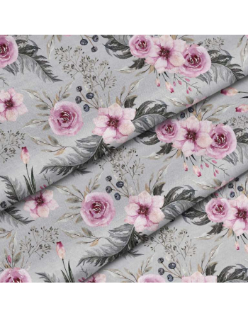 Garden flowers - light grey - fabric by meter