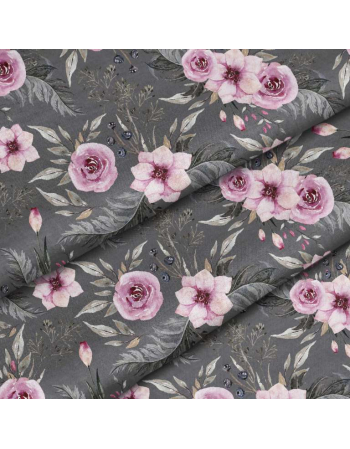 Garden flowers - grey - fabric by meter