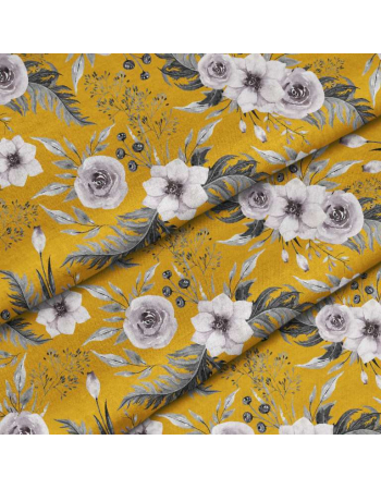 Garden flowers - mustard- fabric by meter