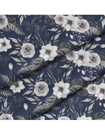Garden flowers - navy- fabric by meter