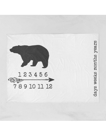 Bear-milestone blanket panel , Cotton Panel