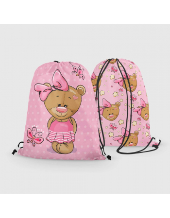 Blue teddy -  drawstring bag panel