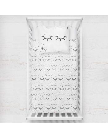 Close eyes - blanket panel , Cotton Panel , Baby Blanket Panel