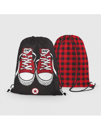 Red trainers - drawstring bag panel