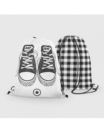Black trainers - drawstring bag panel