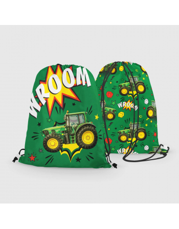 Comic tractor - drawstring bag panel