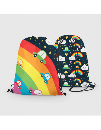 Rainbow cars - drawstring bag panel