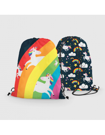 Rainbow unicorns- drawstring bag panel