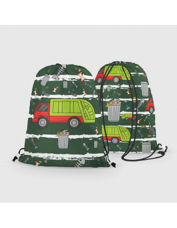 Bin truck - drawstring bag panel