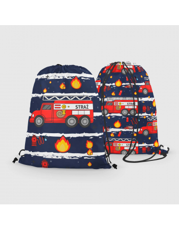 Fire truck - drawstring bag panel