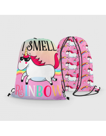 Unicorns - drawstring bag panel