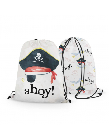 Ahoy Pirate- drawstring bag panel