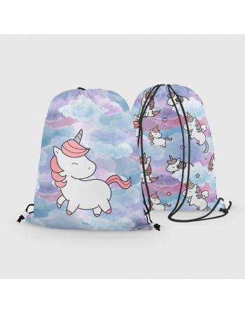 Unicorns - drawstring bag panel