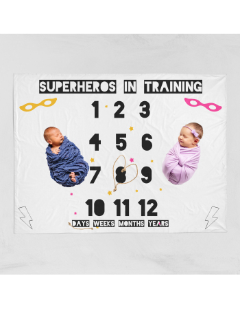 Superhero twins -milestone blanket panel , Cotton Panel