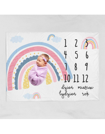 Rainbow  -milestone blanket panel  , Cotton Panel