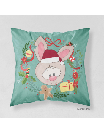 Christmas - rabbit in hat - season cushion panel