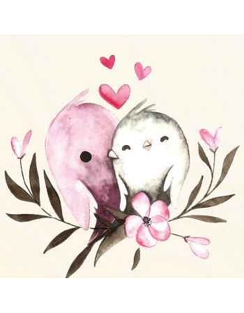 Kochane ptaszki - panel na poduszkę Walentynki