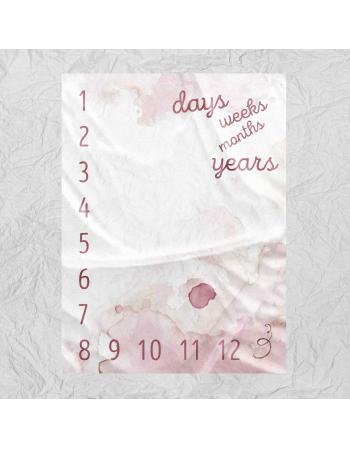 Watercolor pink-milestone blanket panel | Cotton Panel