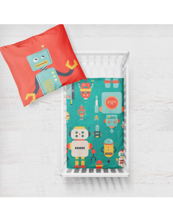 Robots - fabric panels for cushion , fabric panel for quilt