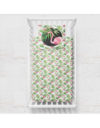 Flamingos blanket panel , Cotton Panel , Baby Blanket Panel