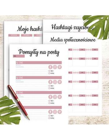 Zestaw kart social media - Moje szycie - planer szyciowy do druku