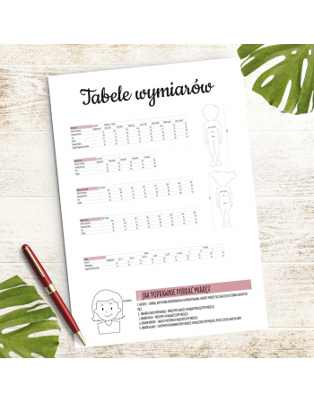 Tabela wymiarów dziecięcych i czapek - Moje szycie - planer szyciowy do druku