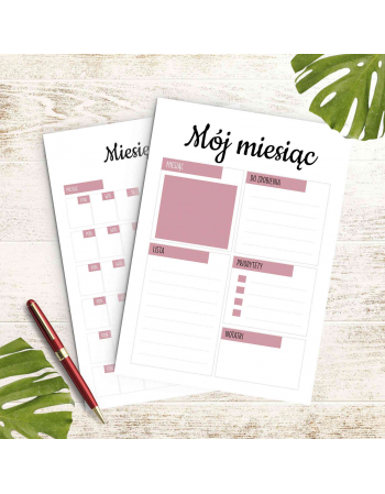 Zestaw kart miesięcznych - Moje szycie - planer szyciowy do druku