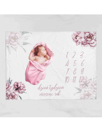 Dusty Peony -milestone blanket panel  | Cotton Panel
