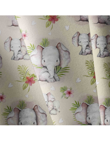 Watercolor animals - elephants - fabric by meter