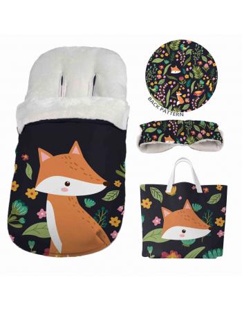 Flower Fox - Stroller footmuff panel