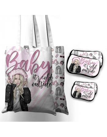 Winter Mom - Bag Panel set , Insta Bag